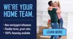 Couple hugging in living room and New Mortgage service offer